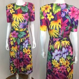 Vintage USA Hawaiian Midi Flare Belted 80's Dress